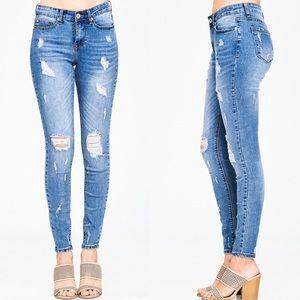 Denim - High Wasted Vintage Blue Destroyed Skinny Jeans 9